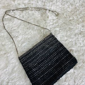 Beaded Cross Body Nag Black  Satin Zip Chain Strap
